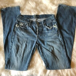 7 for All Mankind Boycut Buttonfly Bleached Jean